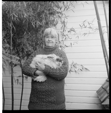 My mother with one of her rabbits