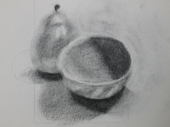 Still Life of Pear and Bowl #2