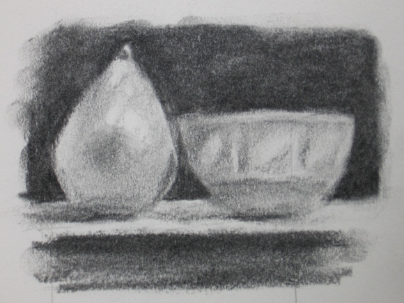 Still Life of a Pear and Bowl #1