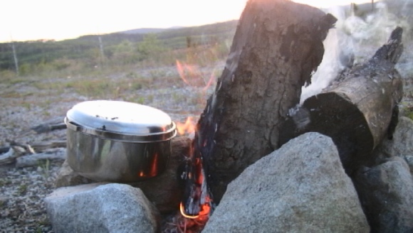 June 16- I warmed water for coffee over the fire. For an evening, I felt like a cowboy.