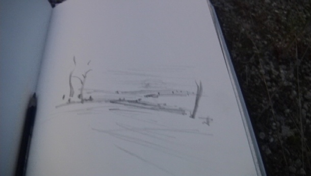 June 16- A sketch made en situ. I will never be able to render the sublimity of moments like these.