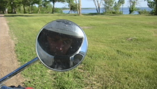 June 20- Self Portrait made from my bike up at Grand Beach, Manitoba.