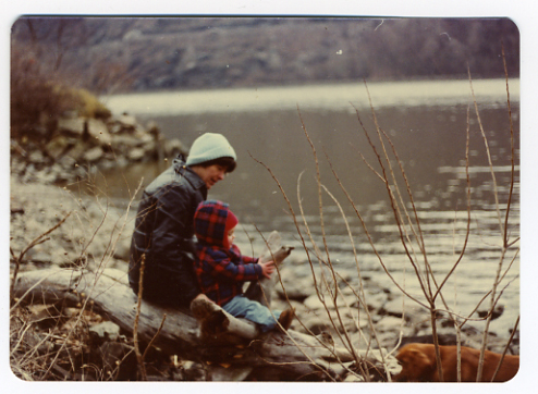 A recently scanned photo of Mom, David and Ginger by the Hudson. Photographer unknown.