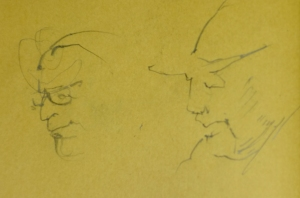 Line drawings of strangers on a NYC subway.