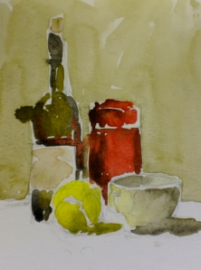 A study of wine bottle, pencil case, tea cup and tennis ball.