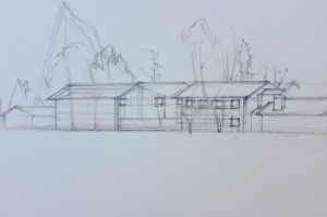 An architectural drawing of Loy Dorms.