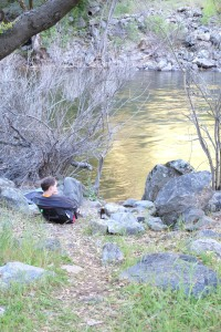 Soon it was time to get on the water. Jeff sitting by a quiet section of the Merced.