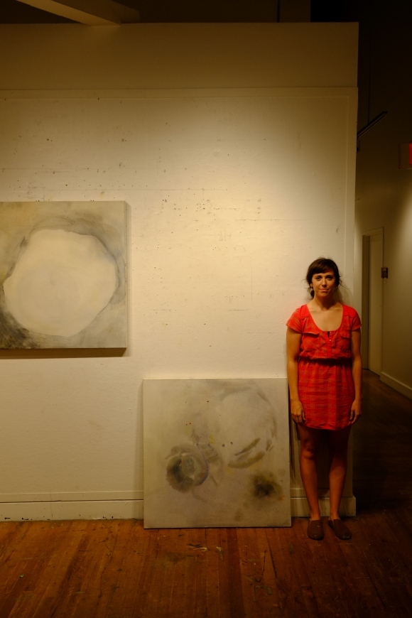 Kate standing by her recent work.