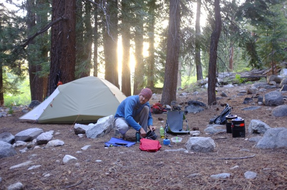 We got in to another great campsite, this time a base camp to Charlotte's Dome. Here is Kevin, chef extraordinaire, at the stove.